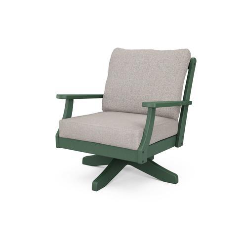 Green & Weathered Tweed Braxton Deep Seating Swivel Chair