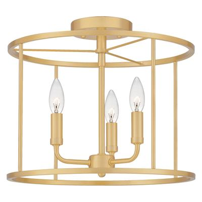 Abner Semi-Flush Mount in Aged Brass