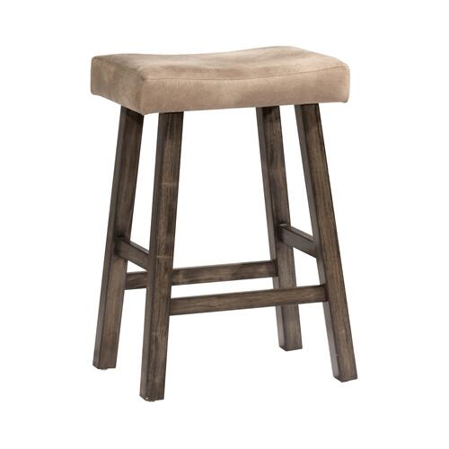 Saddle Non-swivel Backless Counter Stool - Rustic Gray