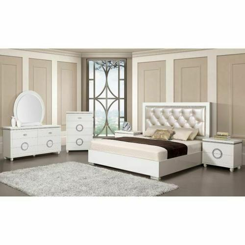 ACME Vivaldi Eastern King Bed - 20237EK - Pearl PU & White High Gloss