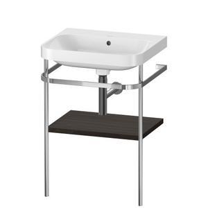 Furniture Washbasin C-shaped With Metal Console Floorstanding, Brushed Walnut (real Wood Veneer)