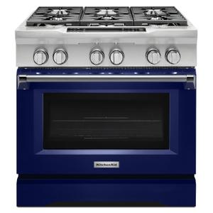 Kitchenaid36'' 6-Burner Dual Fuel Freestanding Range, Commercial-Style Cobalt Blue