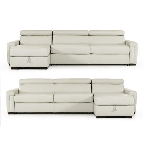 VIG Furniture - Estro Salotti Sacha - Modern Grey Leather Reversible Sectional Sofa Bed with Storage