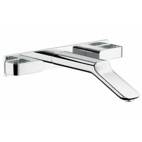 Chrome 3-hole basin mixer for concealed installation wall-mounted with spout 228 mm