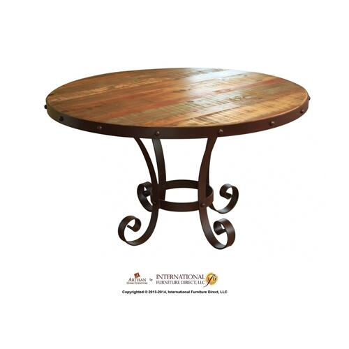 "51"" Round Dining Table Top w/Iron Nail and Head Trim"