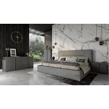 Coronelli Collezioni Hollywood - Eastern King Italian Contemporary Grey Leather Bed