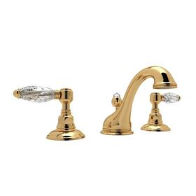 Italian Brass Viaggio C-Spout Widespread Lavatory Faucet with Crystal Lever