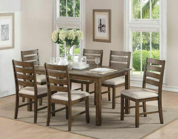 ACME Salileo 7Pc Pack Dining Set - 74690 - Weathered Light Oak