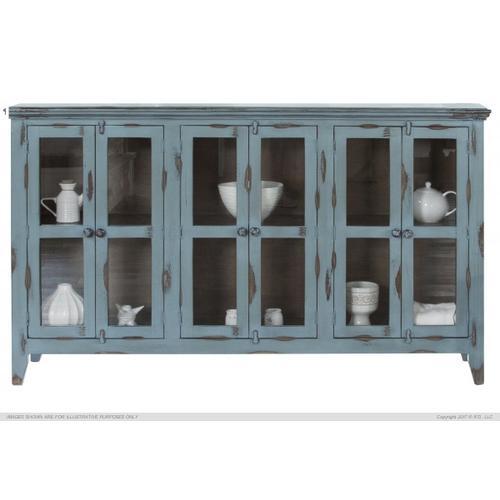 Console w/6 Glass Doors, Blue finish