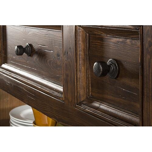 Gallery - Tuscan Retreat® 3 Drawer 4 Door Large Granite Top Kitchen Island - Antique Pine