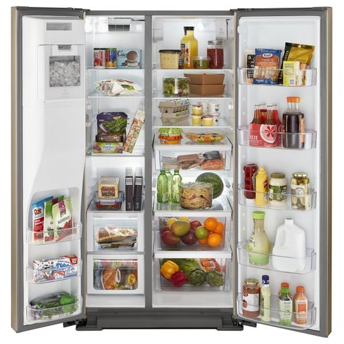 36-inch Wide Contemporary Handle Side-by-Side Refrigerator - 28 cu. ft. Fingerprint Resistant Sunset Bronze