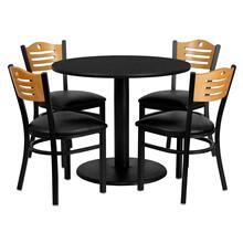See Details - 36'' Round Black Laminate Table Set with 4 Wood Slat Back Metal Chairs - Black Vinyl Seat