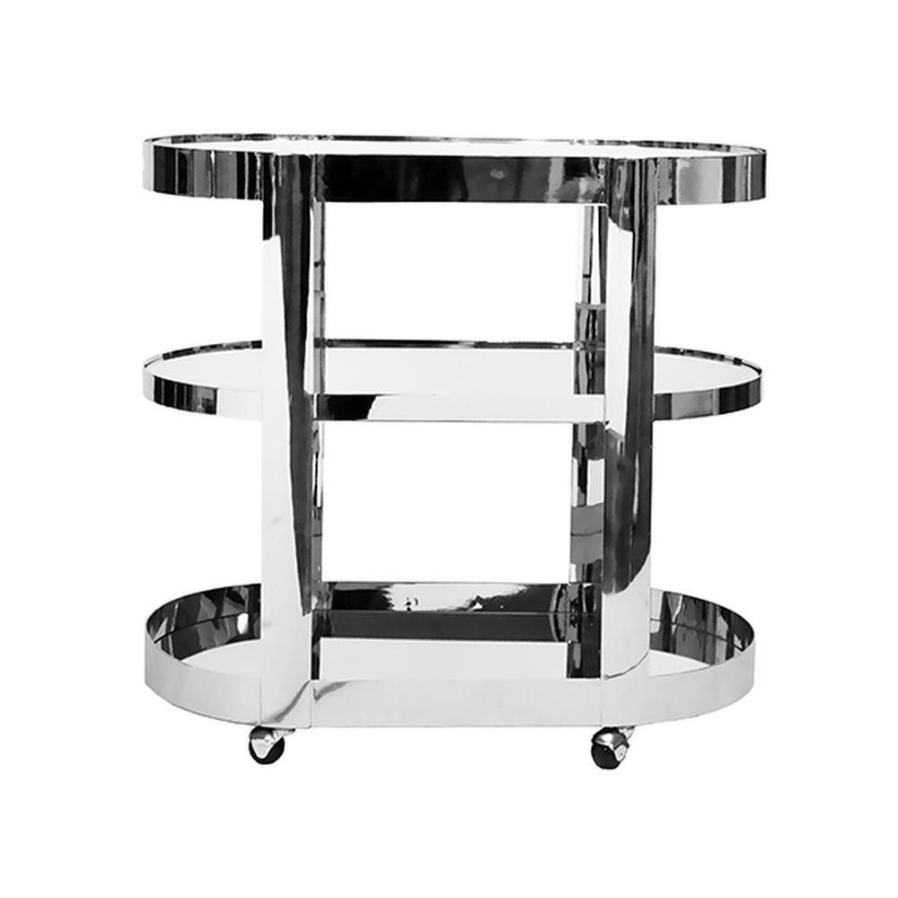 Three Tier Bar Cart With Inset Mirror In Nickel