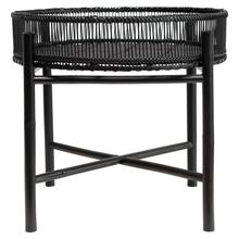 """Product Image - 19-3/4"""" Round x 17""""H Bamboo Slatted Tray Table w/ Removable Tray, Black"""