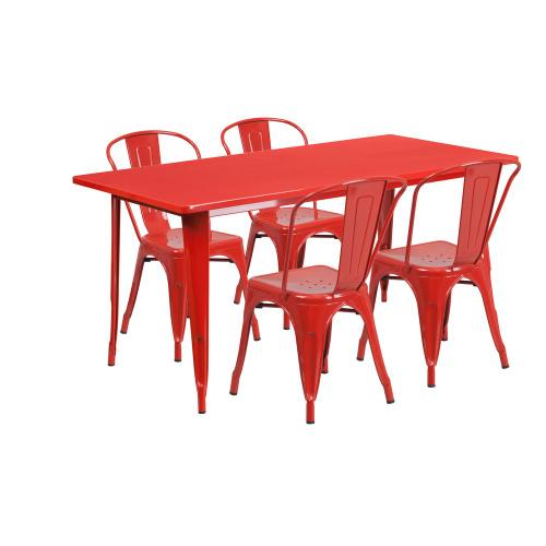 31.5'' x 63'' Rectangular Red Metal Indoor-Outdoor Table Set with 4 Stack Chairs