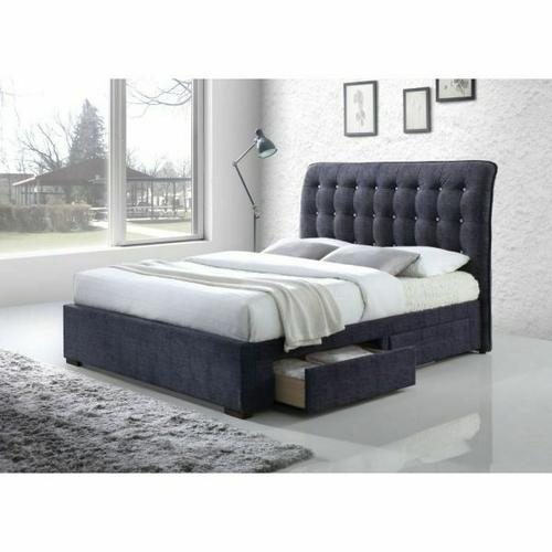 ACME Drorit Eastern King Bed w/Storage - 25677EK - Dark Gray Fabric