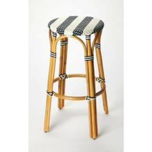 See Details - Evoking images of sidewalk tables in the Cote d'Azur, barstools like this will give your kitchen or patio the casual sophistication of a Mediterranean coastal bistro. Expertly crafted from thick bent rattan for superb durability, it features weather resistant woven plastic in a blue and white striped pattern. This backless barstool is lightweight for easy mobility with comfort to make the space it's in a frequent gathering place.