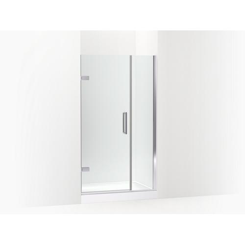 """Kohler - Bright Polished Silver Frameless Pivot Shower Door, 71-9/16"""" H X 39-5/8 - 40-3/8"""" W, With 3/8"""" Thick Crystal Clear Glass"""