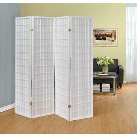 See Details - White Four Panel Folding Screen