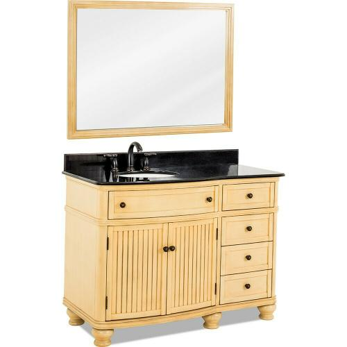 "48"" Buttercream vanity with Antique Brushed Satin Brass hardware, bead board doors, curved front, and preassembled Black Granite top and offset oval bowl"