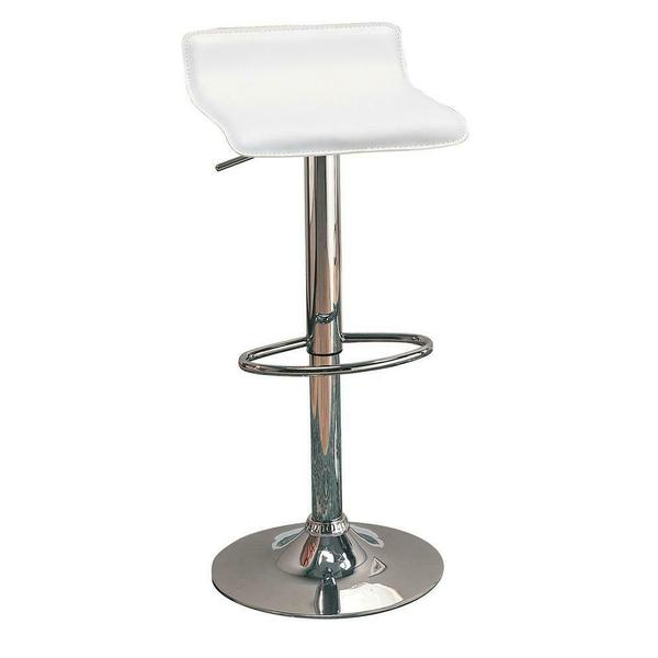 See Details - Contemporary White Adjustable Bar Stool