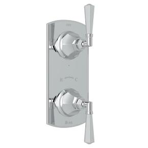 Palladian 1/2 Inch Thermostatic and Diverter Control Trim - Polished Chrome with Metal Lever Handle