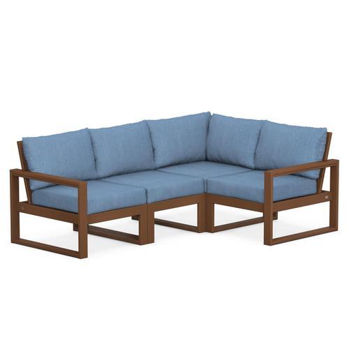 Polywood Furnishings - EDGE 4-Piece Modular Deep Seating Set in Teak / Sky Blue