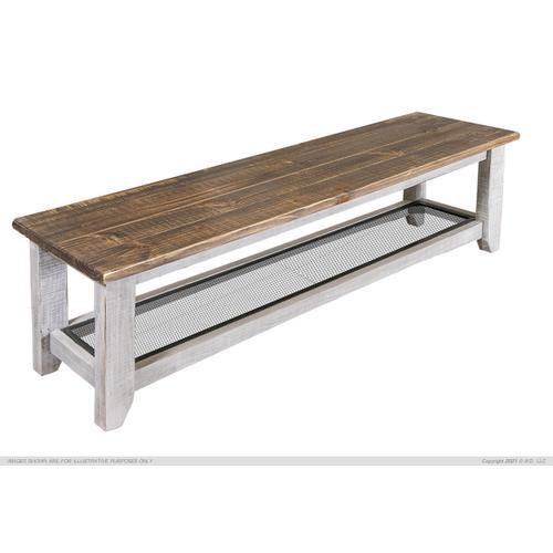 International Furniture Direct - Solid Wood Bench w/Iron Shelf