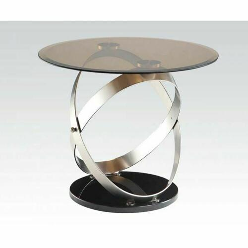 Acme Furniture Inc - ACME Olly End Table - 80927 - Satin - Black & Smoky Glass