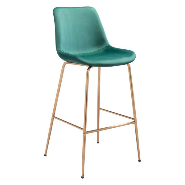 See Details - Tony Bar Chair Green & Gold