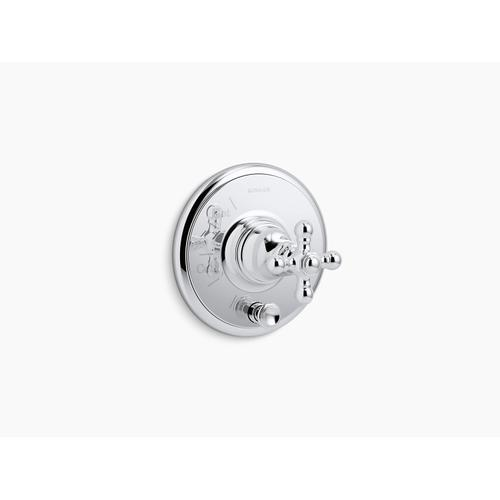 Kohler - Oil-rubbed Bronze Rite-temp Valve Trim With Push-button Diverter and Cross Handle, Valve Not Included