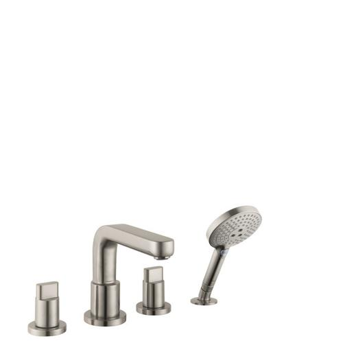 Brushed Nickel 4-Hole Roman Tub Set Trim with Full Handles and 1.75 GPM Handshower