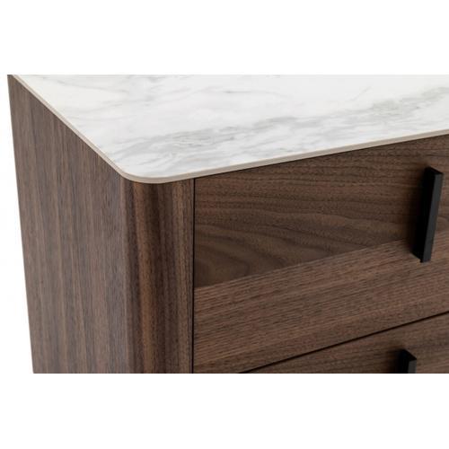 VIG Furniture - Modrest Chelton - Contemporary White Ceramic & Walnut Nightstand