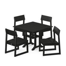 View Product - EDGE 5-Piece Farmhouse Trestle Side Chair Dining Set in Black