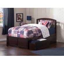 Richmond Twin Flat Panel Foot Board with 2 Urban Bed Drawers Espresso