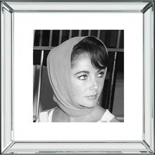 Elizabeth Taylor (20 X 20) Black and White Print With Hollywood Style Beveled Mirror Frame
