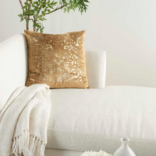 "Sofia Ac388 Beige/gold 20"" X 20"" Throw Pillow"