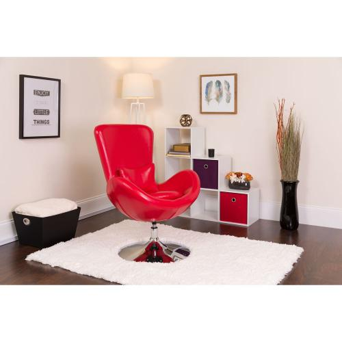 Red Leather Side Reception Chair