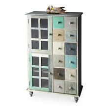 This stunning accent chest is handcrafted from mango hardwood solids and wood products and hand finished in a whimsical profusion of pastels. It features abundant storage with two top drawers and compartments behind four doors on the bottom right and left sides.