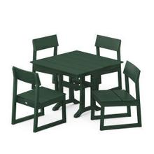 View Product - EDGE 5-Piece Farmhouse Trestle Side Chair Dining Set in Green