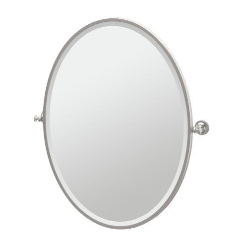 Tavern Framed Oval Mirror in Satin Nickel