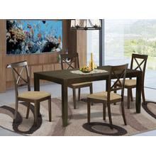 5 Pc Dining room set for 4-Dining Table with Leaf Plus 4 Chairs for Dining room