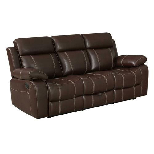 Myleene Chestnut Leather Three-piece Living Room Set