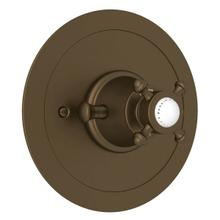 Georgian Era Round Thermostatic Trim Plate without Volume Control - English Bronze with Cross Handle