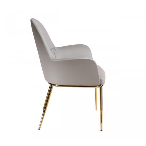 VIG Furniture - Modrest Blanton - Modern Grey Leatherette & Gold Accent Chair
