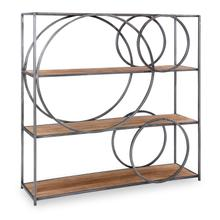 See Details - Cabel Metal and Wood Circle Bookcase