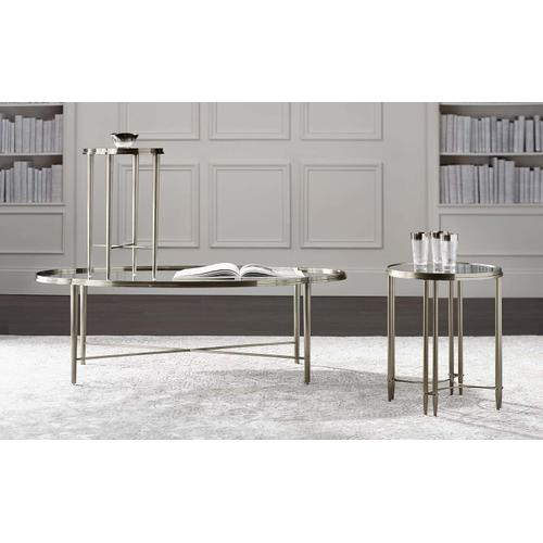 Allure Metal Oval Cocktail Table in Silver Mist (399)