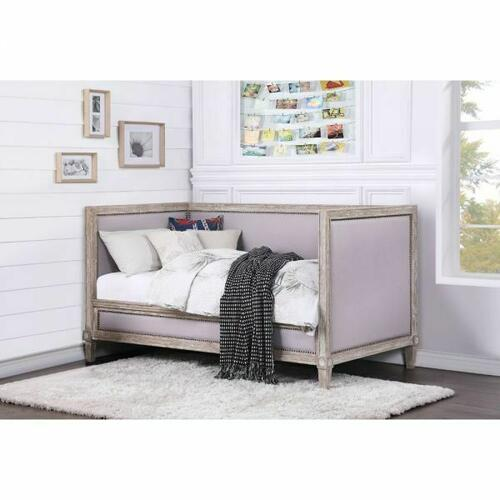 ACME Charlton Daybed (Twin Size) - 39230 - Traditional - Linen, Wood (Pine), Ply - Weathered oak