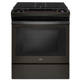 5.0 cu. ft. Front Control Gas Range with Cast-Iron Grates Black Stainless