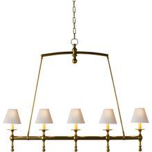 E. F. Chapman Classic 5 Light 45 inch Hand-Rubbed Antique Brass Linear Pendant Ceiling Light